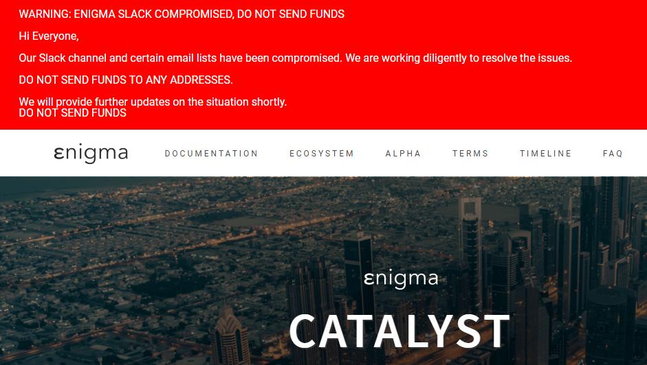 Pré-ICO da Enigma Catalyst foi hackeada em US$ 400.000. BTCSoul.com