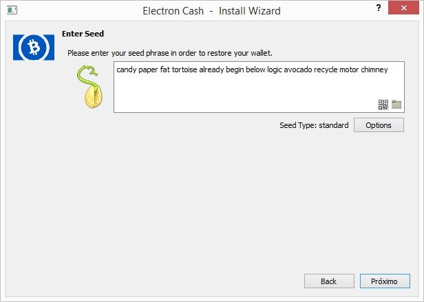bcc seed wallet import