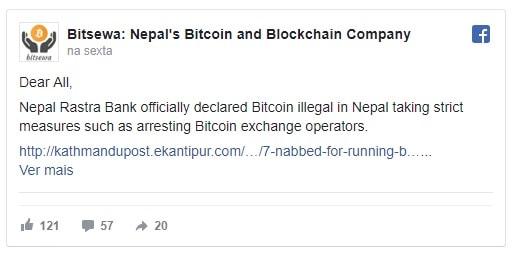 Bitcoin está proibido no Nepal. BTCSoul.com