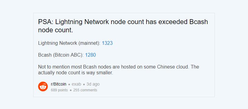 A Rede Lightning Network chegou à frente do Bitcoin Cash em número de nós. BTCSoul.com