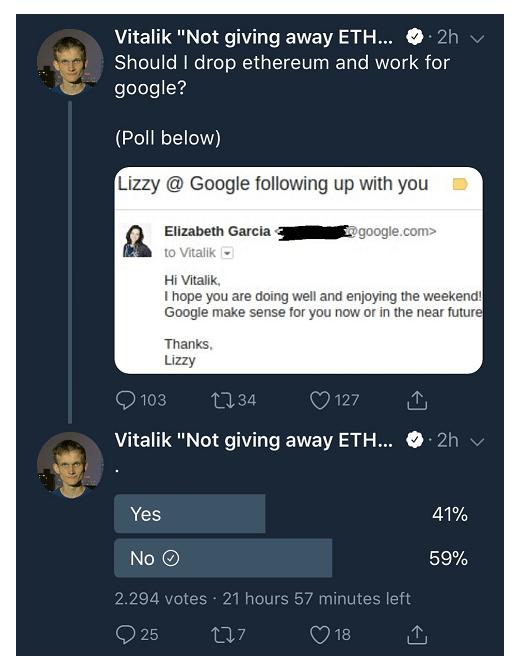 Vitalik Buterin exclui tweet com pesquisa sobre transição para Google. BTCSoul.com