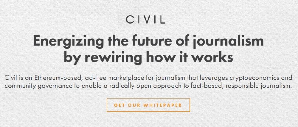 A nova startup Civil visa reprimir notícias falsas e inovar o processo jornalístico com a criação de uma plataforma descentralizada baseada em Ethereum para cidadãos e jornalistas.
