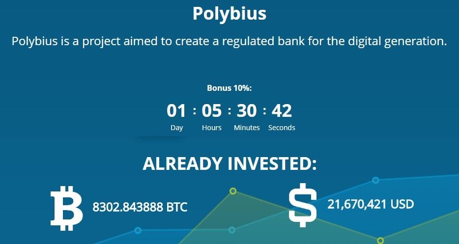 O crowdsale do projeto estoniano-suíço da instituição financeira de nova geração, o Banco Polybius, atraiu US$ 6 milhões somente nos três primeiros dias, e agora esse valor já ultrapassou US$ 21 milhões.