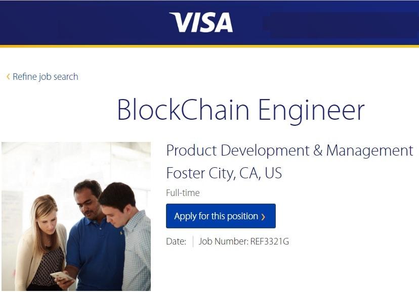 A Visa, principal sistema de pagamento, busca ativamente especialistas em campo de tecnologia de blockchain prontos para participar de sua equipe de desenvolvimento.