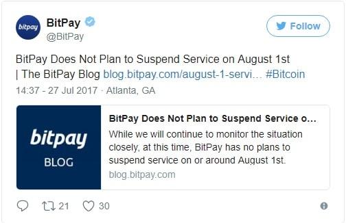 BitPay não vai parar em 1º de agosto.BTCSoul.com