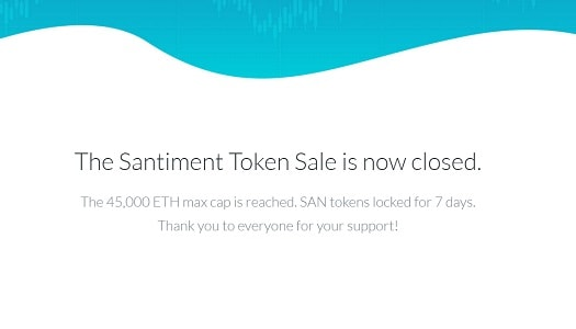 santiment token sale termina recorde