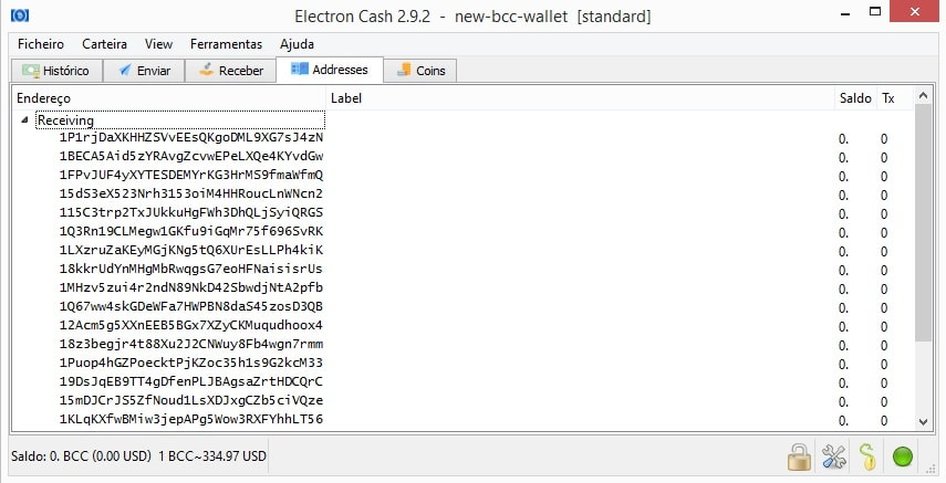 bcc seed import wallet addresses