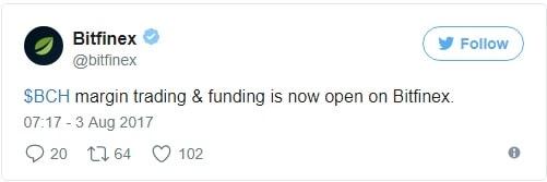Bitfinex lança negociação de margem para Bitcoin Cash. BTCSoul.com