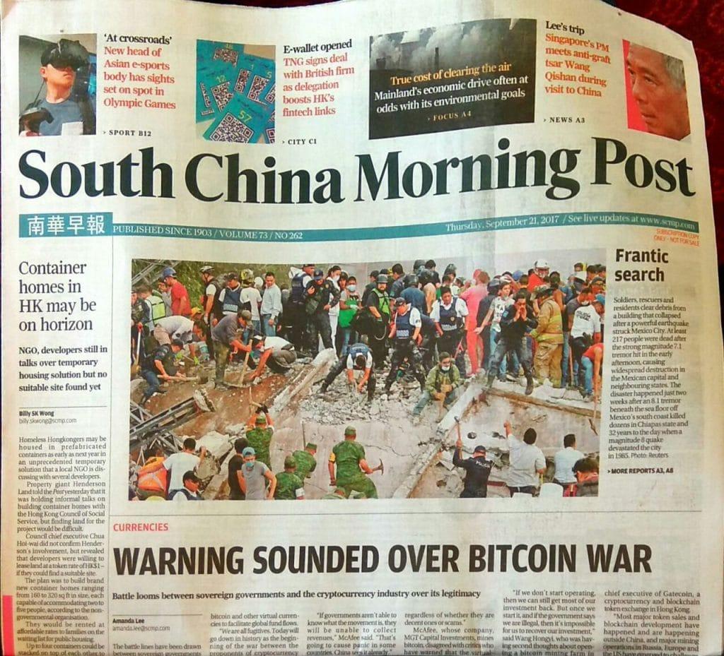 """A imprensa de Hong Kong escreve sobre a """"guerra entre cripto-refugiados e o estado"""""""
