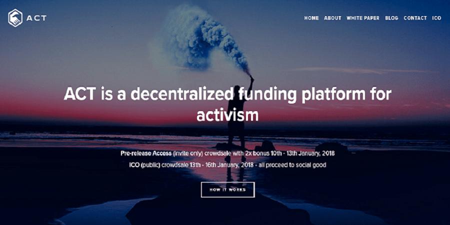 Todos os procedimentos na ICO ACT (https://daoact.org/ico) serão posicionados nesse contrato inteligente de uma plataforma Alpha do Ethereum primariamente para fornecer suporte a ativistas. E ninguém pode parar isso.