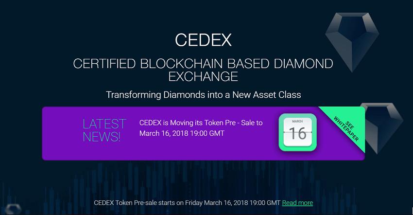 Cedex é a primeira Exchange de diamantes baseada em Blockchain do mundo. A ambiciosa visão da companhia é de juntar proprietários de diamantes que desejem liquidar seus patrimônios e traders que desejem diversificar seu portfólio.