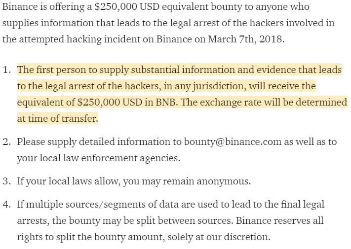 Binance concederá US$10 milhões por captura de hackers. BTCSoul.com