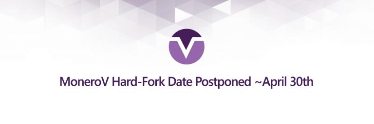 A equipe do projeto MoneroV informou em seu blog que o hardfork, anteriormente planejado para 14 de março, foi adiado por mais um mês. O snapshot da Blockchain será tirado no bloco de 1.564.965, que será extraído por volta de 30 de abril.