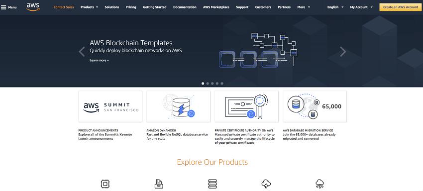 A plataforma de serviços em nuvem Amazon Web Services (AWS) introduziu um serviço de modelo para a conveniência do lançamento de redes de Blockchain com base nos protocolos Ethereum e Hyperledger Fabric.