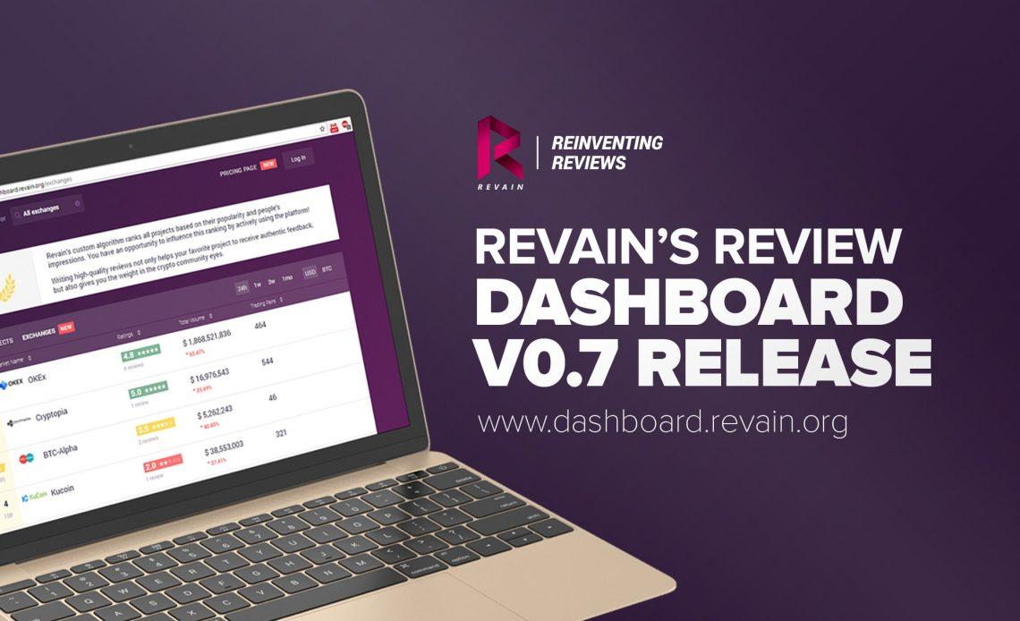 A Revain está feliz em anunciar a mais nova versão de seu produto Dashboard. A versão 0.7 está expandindo a plataforma para uma nova e promissora direção com a visão de ajudar os projetos a estabelecer conexões com seus usuários e detentores de tokens. Além disso, pela primeira vez, a companhia começou experimentos com o modelo de negócios.