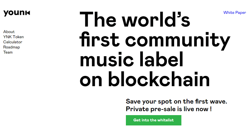 O projeto Younk, que está desenvolvendo uma gravadora pública de música baseada em Blockchain, anunciou o início de uma rodada fechada de pré-vendas. A ideia da startup é fornecer à comunidade acesso à indústria musical.
