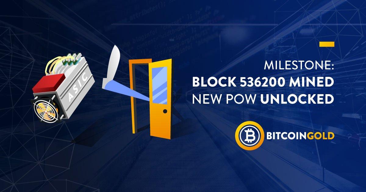 Em 3 de julho, no bloco de número 536.200, a rede Bitcoin Gold foi transferida para um algoritmo Equihash-BTG modificado, não suportado por mineradoras ASIC clássicas. Isso foi anunciado pelos desenvolvedores da criptomoeda em seu blog oficial.