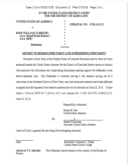 Tribunal pode retirar acusações de Ross Ulbricht de assassinato por contrato. BTCSoul.com