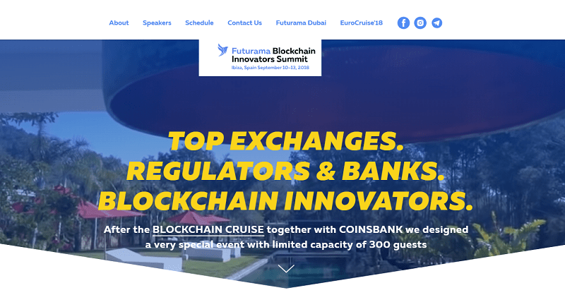 """No início de setembro, a Futurama Blockchain Innovators sediará outro retiro """"exclusivo"""", o qual terá início após o evento de seu parceiro, o Blockchain Cruise Mediterranean, por Coinsbank."""