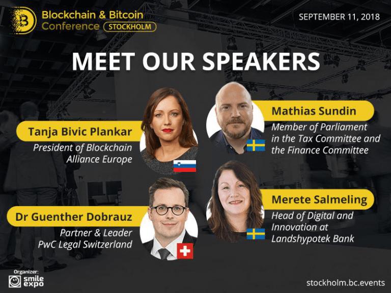 Em 11 de setembro, a Blockchain & Bitcoin Conference será realizada em Estocolmo, e nela, especialistas discutirão a integração da Blockchain ao setor bancário e as inovações no campo de vendas de tokens.