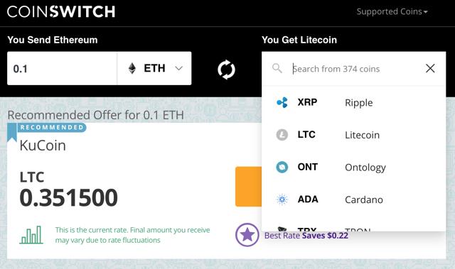 coinswitch api app criptomoeda